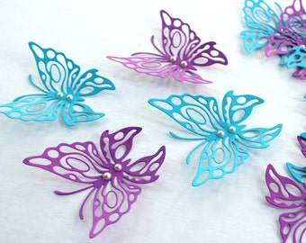 3d butterfly art - Blue wall decor - Purple butterfly - butterfly wall decor - Paper butterflies - 3d butterflies - butterfly wall decal