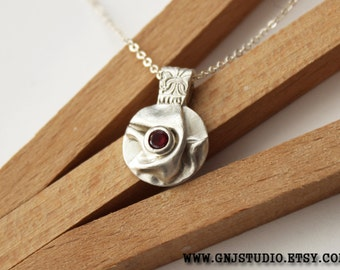 Silver Ruby Pendant Necklace - Fine Jewelry - Sterling Silver Pendant