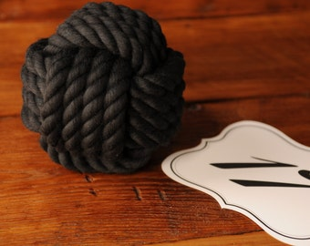 Nautical Wedding - Black Cotton Rope - Nautical Decor - Black Wedding Decor - (this is per knot)