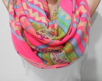 Tribal Scarf Shawl Pareo Pink Infinity Scarf Spring Summer Fall Winter Fashion Women Fashion Accessories Christmas Gift For Her For Mom