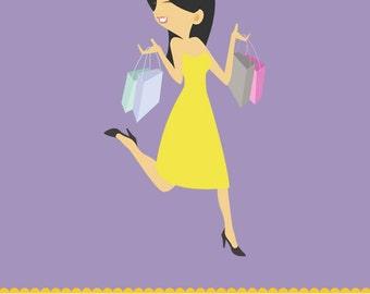 Woman Shopping Clipart