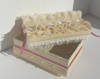 Handmade Lace & Pearl Keepsake Treasure Box for Jewelry or Memories, Beautiful Shabby Chic Trinket Box by FairyLace Designs