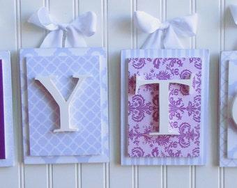 Nursery letters,Purple Nursery Letters, Personalized Letters, Custom Nursery Letters,Wood Letters, Nursery Wall Letters,Hanging Wall Letters
