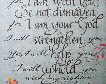 Christian Gift, Religious Art, Christian Wall Art, Bible Verse, Isaiah 41  10, Hand written Calligraphy on 8 x 10 Decorative paper PRINT