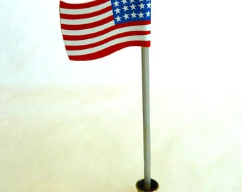 American Flag that stands alone dollhouse miniature 1/12 scale.