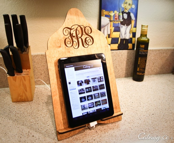 Custom Engraved Wood Initials Monogram Cook Book Stand Recipe Stand Tablet Stand Docking Stand Kindle Nook & iPad Stand
