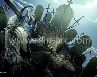 Dark Souls Artorias Sif 18x12 Art Print