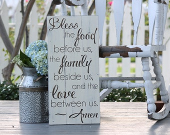"Bless the food before us, Large hand painted wood sign, Kitchen & dining room decor, Housewarming gift, Measures 10.5"" x  22"""
