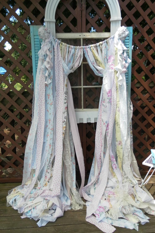 Octopus shower curtain etsy - Shabby Chic Curtains Vintage Fabric Handmade Ooak Ribbon Curtains Rag Garland Boho Nursery Wedding Shower