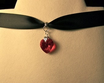 Heart Choker~Red Heart choker; Swarovski Heart Necklace; Red Heart necklace; Swarovski heart choker; black velvet or satin choker-Christmas