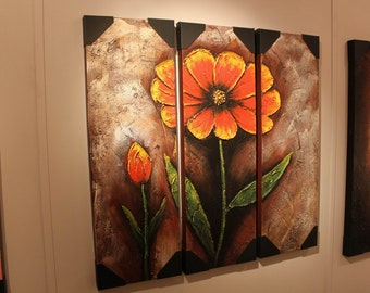 Orange Red Flower Blossom Triptych Textured Canvas Painting Triptych Canvas Panel Wall Art Deco, Brown Green Flower Wall Hanging