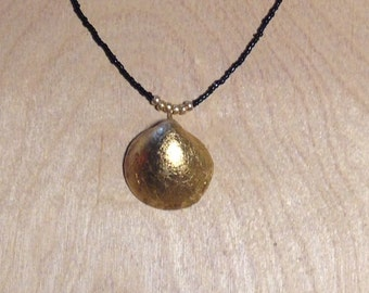 Gold Clam Shell and Bead Necklace with Crystal