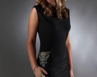 Black Cocktail Dress with Appliqué