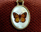 Hand Painted Monarch Butterfly Cameo Pendant Necklace Mother Of Pearl Shell Artist Signed Gold tone Collectible Art Jewelry Gifts Birthday