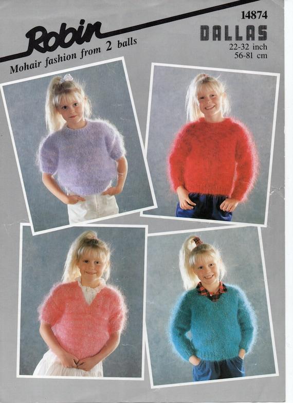 Knitting Patterns For Kid Mohair : Childrens Mohair Jumpers knitting pattern PDF Girls Mohair