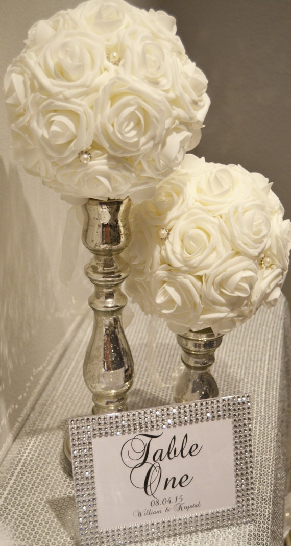 IVORY Flower Ball with Bling Pearl Brooch. Real Touch Foam
