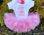 1st Birthday Princess Petti Tutu Baby Girl Outfit Personalized Pink First Birthday Girl Set Crown Smash Cake Twins First Birthday