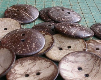 10 extra large coconut shell buttons,  1 3/4 inch, coconut buttons, sewing supply, crafts,