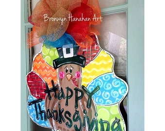 Multicolored Fall Turkey Door Hanger - Bronwyn Hanahan Art