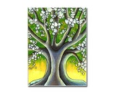 Original ACEO / artist trading card / art miniature, tree illustration