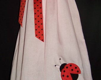 Ladybug Pillowcase Dress / Pink / Red / Birthday / Newborn / Infant / Baby / Girl / Toddler / Handmade / Custom Boutique Clothing