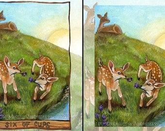 Baby Deer Print, Wildlife Art, Forest Animal Illustration, Six of Cups Tarot Card, Purple Flowers, Wildife Nursery Decor, Animism Tarot Deck