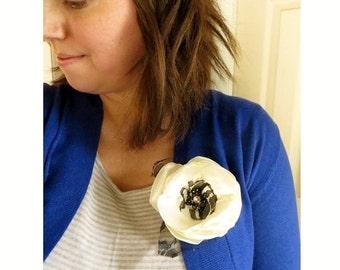 "4"" Big Flower Pin, Large Flower Brooch, Ivory Wedding Flower, Silk Flower Pins Womens Gift, Black Crystal Bead Flower, Floral Piece Broach"