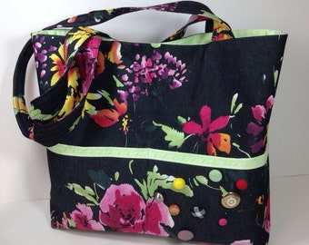 Medium Tote Bag, Travel Handbag, Over the Shoulder Purse, Book Bag, Unique Perfect Gift, Modern Vintage Floral Dark Denim Boho