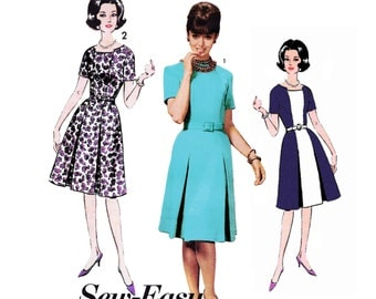 1963 Vintage Princess Seam Dress, with Inverted Pleat Skirt and 2 Neckline, Perfect for Color Blocking, Rockabilly, Advance 3090, Bust 32""