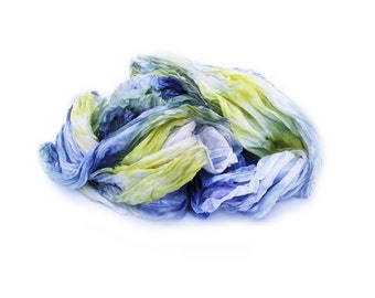 blue silk scarf - Guilty Pleasure  - blue, yellow, purple silk ruffled scarf.