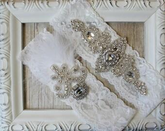 "wedding garter - Vintage Garter Set w/ ""Diamonds"" and Rhinestones on Comfortable Lace, Wedding Garter Set, Crystal Garter Set, Custom Garter"