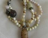 Jade bead pendant w lemon chrysoprase beads necklace w beaded jewelry , Chinese carved jade , chrysoprase & jade jewelry , layering necklace