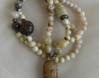 Jade bead pendant w lemon chrysoprase beads necklace , beaded jewelry , Chinese carved jade , chrysoprase & jade jewelry , layering necklace