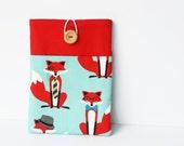 iPad mini cover, iPad mini sleeve, Fox print padded case for iPad Mini Retina and other tablets - red and aqua blue.