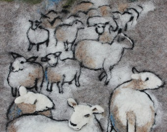 Original wool painted picture felted sheep in the night felt art wool picture