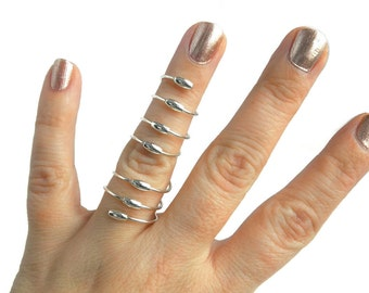 Sterling Silver Full Finger Ring, Sterling Silver Oval Beaded Full Finger Ring