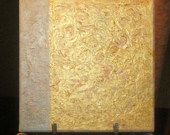 """Original Abstract 8"""" x 8"""" Acrylic Painting on Canvas, Gold, Gray, Textured Modern Fine Art"""