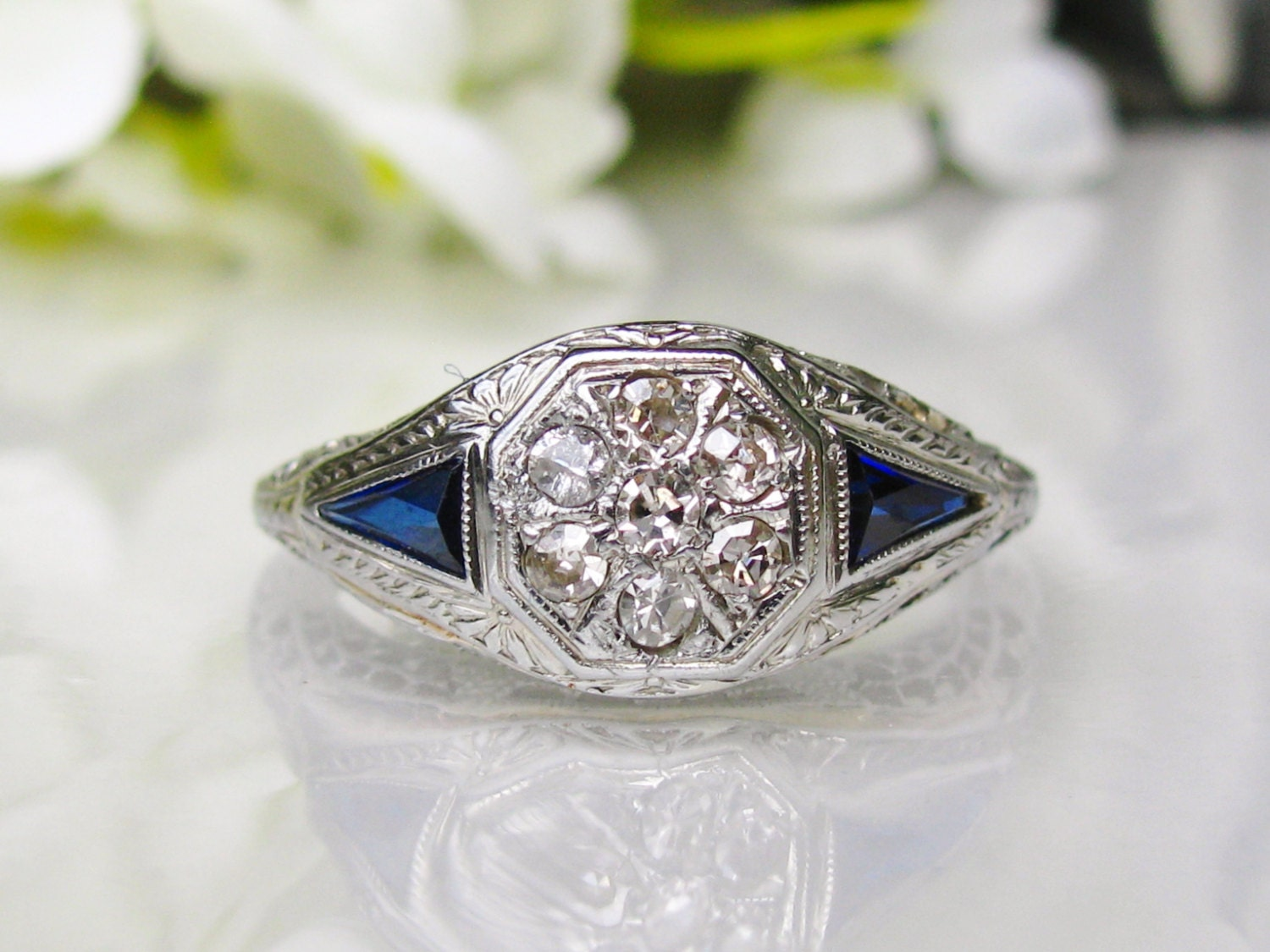 antique engagement ring cluster blue sapphire ring