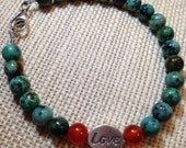 Heart Bracelet Love Bracelet Reversible Bead Bracelet Sterling Silver Jasper African Turquoise Bracelet Carnelian Bracelet Rust Orange