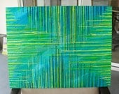 Melted Crayon Art, Housewarming Gift Home Decor, Textured Painting, Wall Decor, Green Art, Abstract Painting Canvas, One Of A Kind Art 22x28