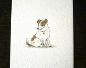 ORIGINAL ILLUSTRATION, PAINTING  -  mini art illustration/ Jack Russell terrier dog/ pen & ink, watercolour