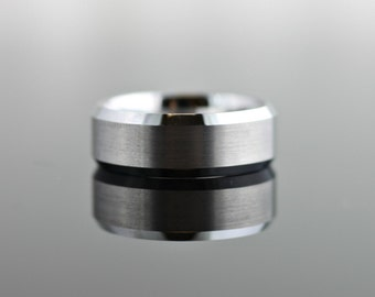 Tungsten Band Brushed or High Polish Finish with Beveled Edges - 8MM