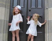 Autumn - Soft White Flower Girl Lace Dress, Girl Dress for toddlers & girls sizes 1T,2T,3T,4T,5T,6,7/8,9/10,11/12,13/14