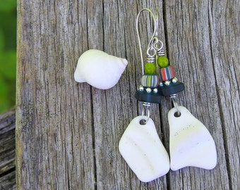 surf tumbled beach pottery, indonesian glass, recycled glass, and sterling silver dangle earrings. bohemian beach earrings. one of a kind.