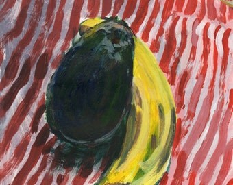 Original Painting - 'Banana and Avocado on Red and White Stripes' by Peter Mack