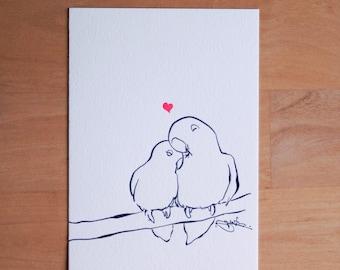 True Love, Love Birds Illustration Letterpress 5x7 Print on 100% Cotton Paper