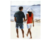 Lovers Walking on Beach Love Walking on the Beach  Fine Art Print  Limited Edition  Free US Shipping and Insurance