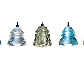 7 Color choices: Original Custom Glass Insulator Light fixture Handmade pendant Lighting Electrical Insulator Light Glass pendant light