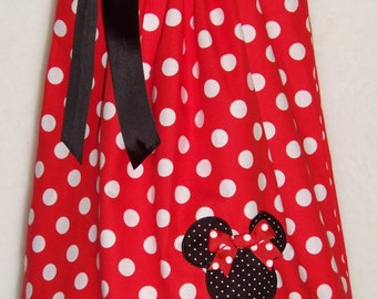 Minnie Mouse Pillowcase Dress / Red Dots + Bk Micro Dots / Disney / Character / Girl / Infant / Baby / Toddler / Custom Boutique Clothing