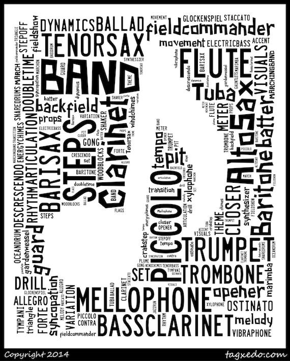 Items similar to Marching Band Subway Word Art Perfect for ...